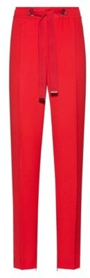 HUGO Relaxed-fit trousers with tie-up logo belt