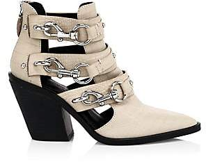 Rebecca Minkoff Women's Seavie Croc-Embossed Lobster Clip Buckle Pebbled Leather Ankle Boots