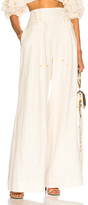 Zimmermann Painted Heart Lace Up Pants in White.