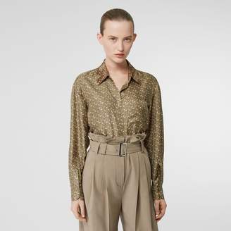 Burberry Contrast Collar Monogram Print Silk Oversized Shirt