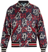 Gucci Guccighost-print Satin Bomber Jacket