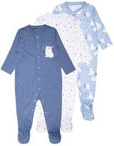Mothercare BOYS POLAR BEAR SLEEPSUIT BABY 3 PACK Pyjamas blue
