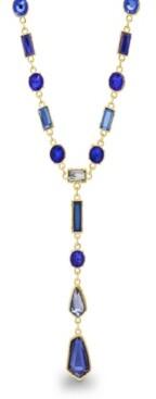 Catherine Malandrino Women's Blue Geo Rhinestone Yellow Gold-Tone Y-Style Chain Necklace