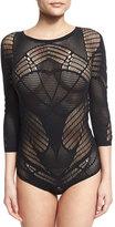 Wolford Netlace 3/4-Sleeve G-String Bodysuit, Black