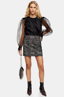 Topshop PETITE Mini Leopard Print Flocked Denim Skirt