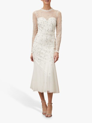Phase Eight Annie Bridal Floral Embellished Midi Dress, Ivory