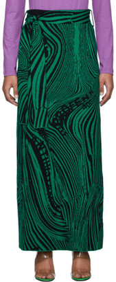 Rokh Black and Green Wool Psychedelic Skirt