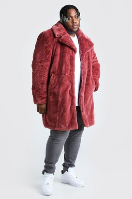 boohoo Mens Pink Plus Size Faux Fur Overcoat, Pink