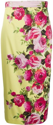 Blumarine Floral Printed Pencil Skirt