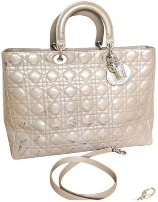Christian Dior Lady Grey Patent leather Handbags