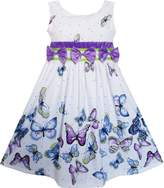 Sunny Fashion FP71 Girls Dress Blue Butterfly Print Triple Bow Tie