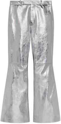 Gucci Metallic leather flare pant