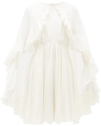 Giambattista Valli Ruffled Silk Cape Mini Dress - Womens - Ivory