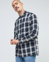 Pull&bear Checked Shirt In Navy In Regular Fit