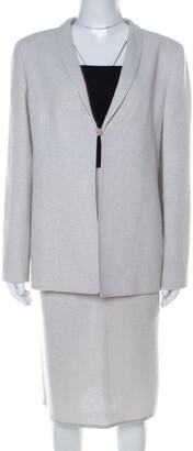 Valentino Boutique Vintage Light Grey Boucle Wool Skirt Suit XL