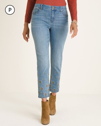 So Slimming Petite Foulard Embroidered Girlfriend Ankle Jeans