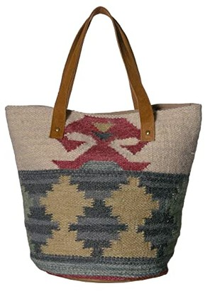 Scully Andreia Woven Tote w/ Snap Closure (Green/Natural) Handbags