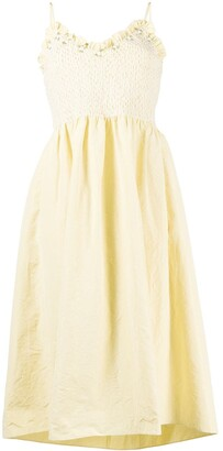 Miu Miu Ruffle-Trim Flared Midi Dress