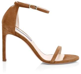 Stuart Weitzman NudistSong Ankle-Strap Suede Sandals