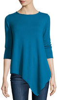 Neiman Marcus Three-Quarter-Sleeve Asymmetric Cashmere Top