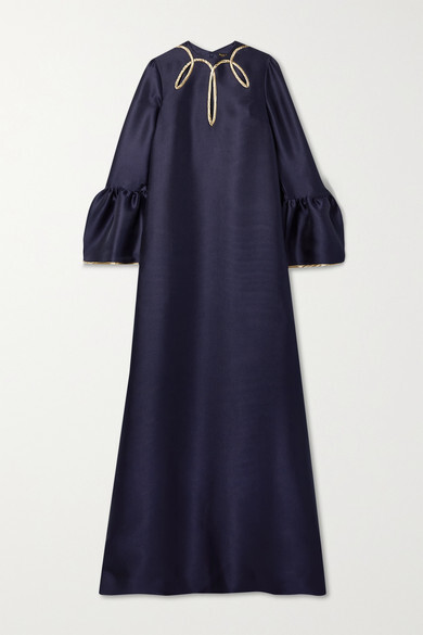 Thumbnail for your product : Reem Acra Cutout Metallic-trimmed Satin-pique Gown - Navy