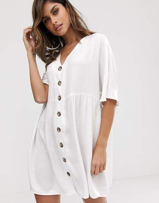 Asos Design DESIGN v neck button through mini smock dress-White