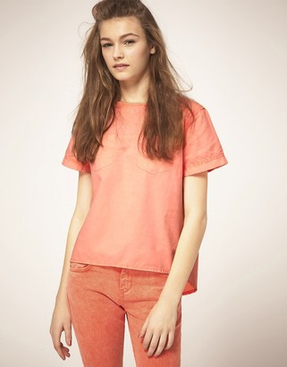Asos Pleat-Back Denim T-Shirt in Neon Coral