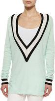 Minnie Rose Striped Cashmere V-Neck Varsity Sweater