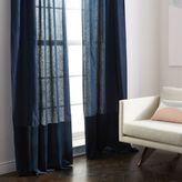 west elm Belgian Flax Linen Velvet Colorblock Curtain - Midnight/Regal Blue