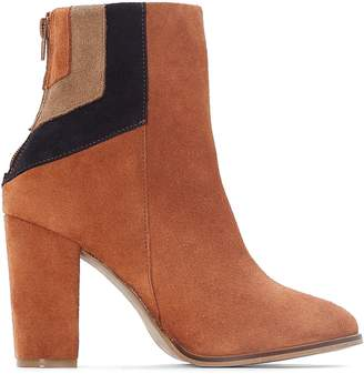 La Redoute Collections Leather Ankle Boots with Geometric Detail