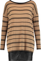 Bailey 44 Striped stretch-jersey and faux leather mini dress