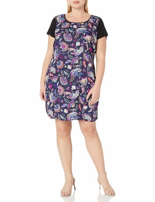 Single Dress Women's Plus Size Print Front Short Sleeve Shift