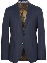 Etro Blue Slim-fit Checked Wool Blazer - Storm blue