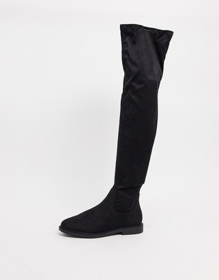 ASOS DESIGN Kate flat over-the-knee boots in black