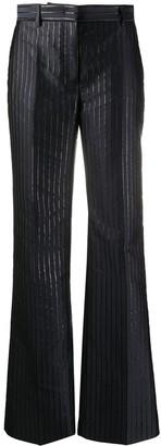Alberta Ferretti Metallic-Pinstripe Flared Trousers