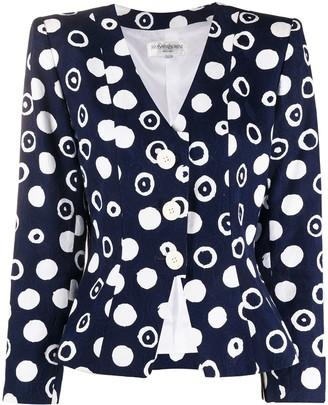 Yves Saint Laurent Pre Owned Polka Dot Print Blazer