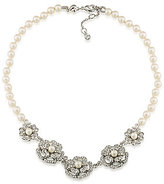 Carolee Grand Entrance Flower & Faux-Pearl Frontal Necklace