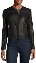 Via Spiga Zip-Front Leather Jacket, Black