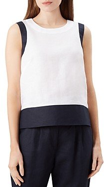 Hobbs London Halle Color-Block Linen Top
