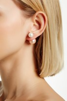 Gold Plated Sterling Silver 10-14mm Shell Pearl Double Sided Earrings