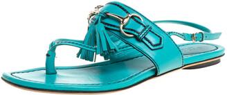 Gucci Blue Leather Tassel Horsebit Thong Flat Sandals Size 36