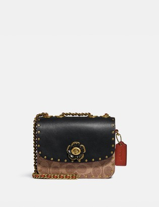 Coach Madison Shoulder Bag 16 In Signature Canvas With Rivets
