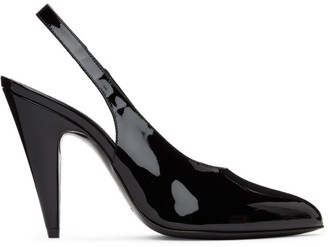 Saint Laurent Black Patent Venus Slingback Heels