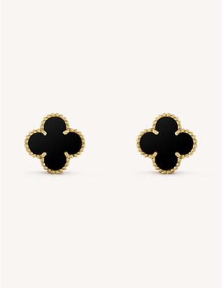 Van Cleef & Arpels Women's Yellow Gold Vintage Alhambra And Onyx Earrings