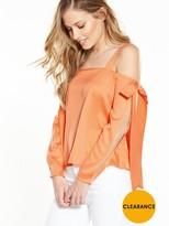 Miss Selfridge Bow Detail Cold Shoulder Top - Orange