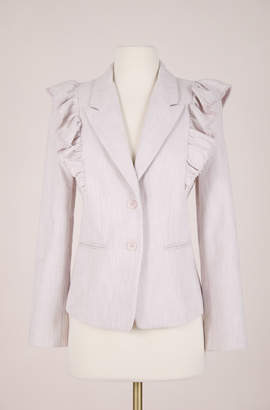 Rebecca Taylor ReCollect Slub Suiting Ruffle Jacket