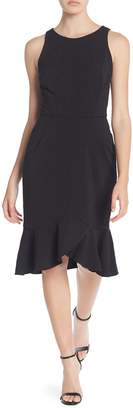 London Times Ruffle Textured Knit Dress (Petite)