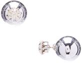 Carole Crystal & Silvertone Reversible stud Earrings