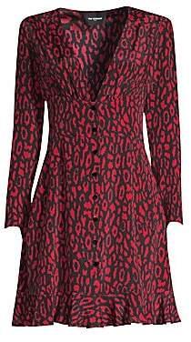 The Kooples Women's Animal Print A-Line Silk Dress