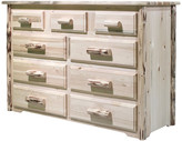clear Montana Woodworks Montana Collection 9-Drawer Dresser, Lacquer Finish